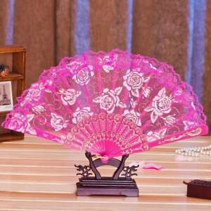 Retro-Flower-Floral-Lace-Hand-Fan-Ladies-Folding-Fan-Stage-Performance-UK