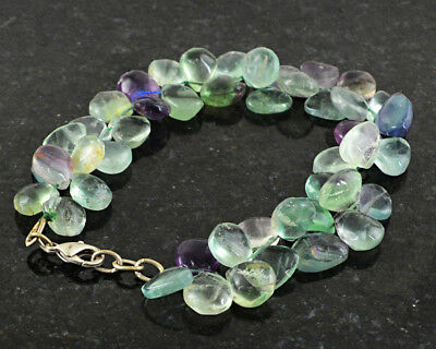 "Fine Jewelry 199.00 Cts Natural 8"" Inches Long Multicolor Fluorite Pear Shape Beads Bracelet Fine Bracelets"