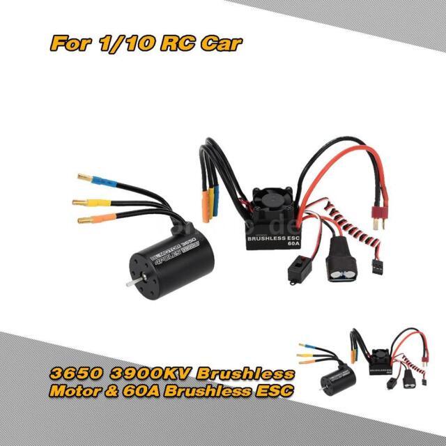 NEW 3650 3900KV 4P Brushless Motor & 60A Brushless ESC for 1/10 RC Car R3H1