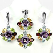 Sterling silver 925 Rainbow Gemstone Multigem Jewellery Set Ring Sz N.5 (US 7)