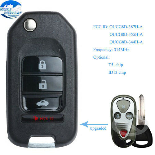 Upgraded Flip Remote Car Key Fob 4 Button T5/ ID13 Chip