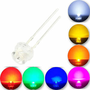 50X-1000X-LED-Straw-hat-Lamp-5mm-White-Warm-Red-Green-Blue-Amber-UV-Wide-Angle