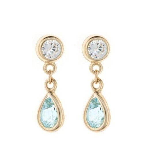 9ct Gold SMALL TEARDROP BLUE TOPAZ CZ DROP Dangle Earrings Mothers Day B/'dayGIFT