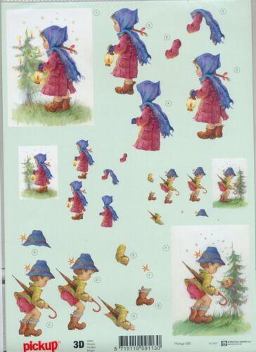 Feuille 3D à découper A4 Pickup-085 Enfants Noël Decoupage Sheet Christmas