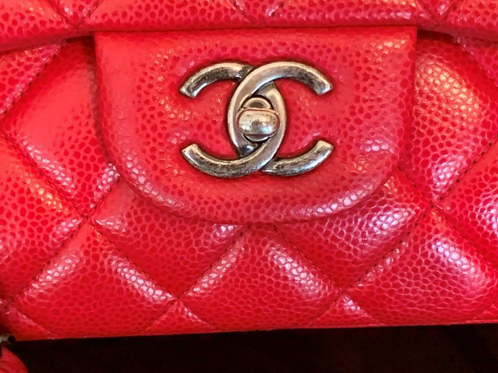 Authentic Chanel Classic Jumbo Red Caviar Double … - image 12