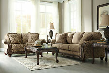 Traditional Wood Trim Tan Fabric Sofa Couch Set Living Room New Furniture - IG1N