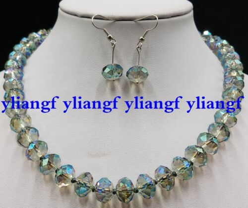 AAA 10x12mm Multicolor AB Crystal Gemstone Faceted Beads Necklace Earring