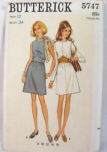 Vintage-1970s-Butterick-5747-One-Piece-Dress-Sewing-Pattern-Size-12-B34-Uncut