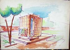 Acquerello '900 su carta Watercolor Architettura futurista cubista razionale-36