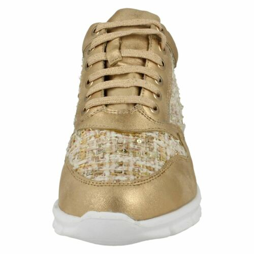 R32A Waves F8R0101 Ladies Rose Gold Trainers With Tweed Effect