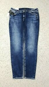 NEW-Silver-Jeans-Women-039-s-Elyse-Skinny-Mid-Rise-Dark-Faded-Wash-Blue-Jeans-NWT