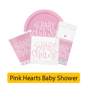 PINK HEARTS Baby Shower Party Range - Girl Tableware Balloons & Decorations