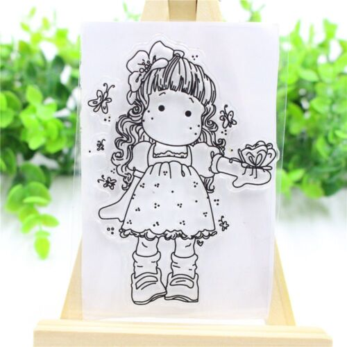 Hot Lovely Girl Clear Transparent Stamps Metal Cutting Dies Stencils DIY Crafts
