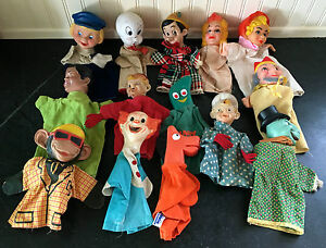 Hand Puppets ~ Lot of 14 ~ Various Characters ~ Vintage