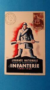 FRANCE-CARTE-MAXIMUM-YVERT-386-GLOIRE-INFANTERIE-55C-70C-PARIS-1939-L145