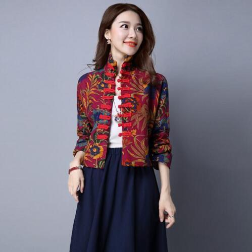 Stylish Women/'s Chinese Folk Jacket Floral Printed Button Outwear Coats Sz zhou8