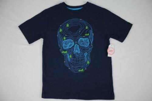 NEW Boys Skull T Shirt Size 14-16 XL Graphic Tee Topograhic Map Blue Top