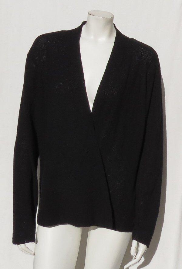 Eileen Fisher Italie Noir Texturé Crêpe Lavable Laine Pull voituredigan Taille XL
