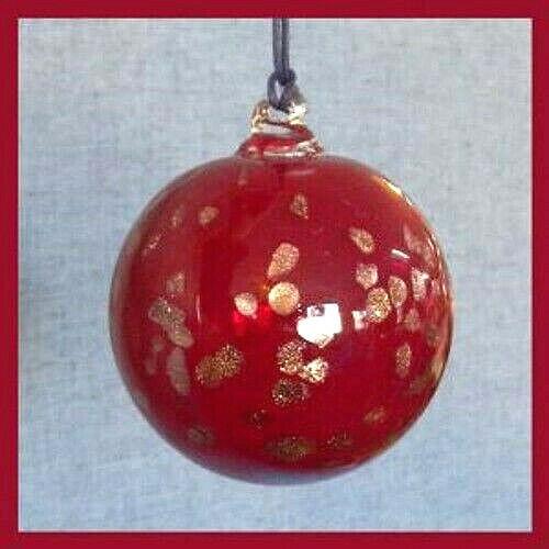 Hanging Glass Ball 4 Diameter Ruby Red with Brassy Specks (1) HGB17