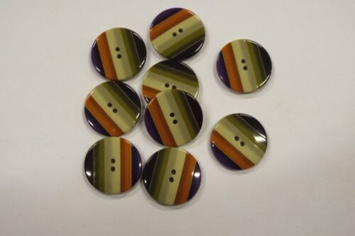 10pc 15mm Green Orange Purple Stripe Coat Knitwear Cardigan Baby Kid Button 3191