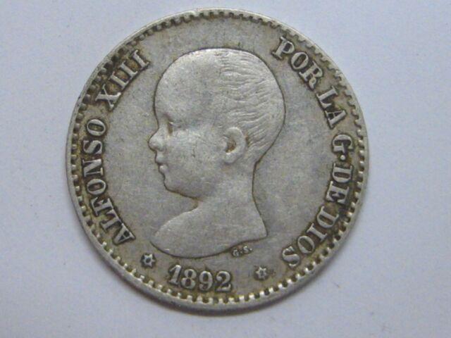 1892 *9-2 ALFONSO XIII 50 CENT CENTIMOS SPANISH SPAIN / ESPAÑA