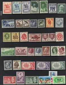 AUSTRALIA-1930-60-039-s-COLLECTION-OF-38-MINT-INCLUDING-SG-156-8-316-27-LIGHT-HINGED