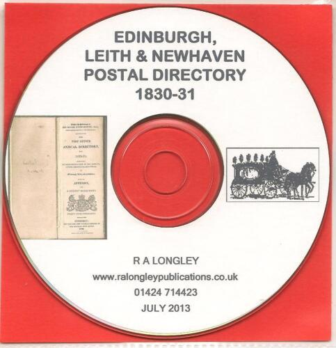 Leith /& Newhaven 1830//31 Postal Directory CD Edinburgh