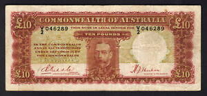 Australia-R-57-1934-10-Pounds-Riddle-Sheehan-KGV-Portrait-Fine