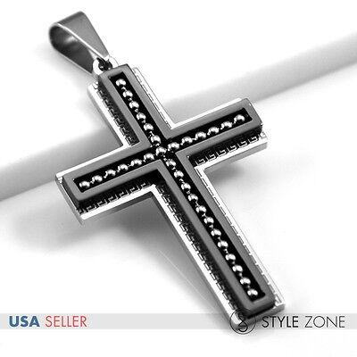 Unisex MEN's Stainless Steel Bead Greek Key Big Cross Pendant Black Cool NEW 12O