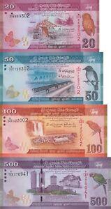 124 125 126 UNC 2010 100 4 Notes Sri Lanka 20 50 500 P 123