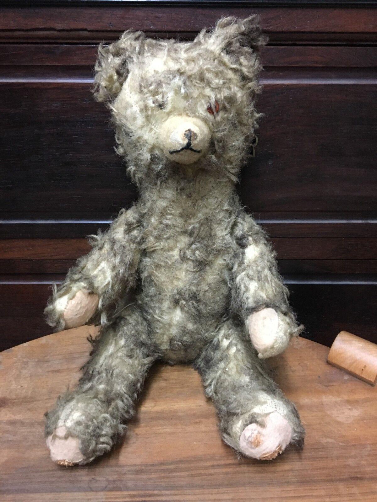 Ancien ours peluche teddy bear mohair Paille grogneur yeux en verre 1930