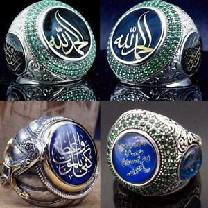 Turkish-Handmade-Jewelry-Silver-slamic-Men-039-s-Ring-Size-7-10-A4V7