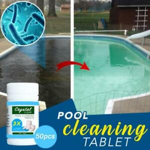 50Pcs Multifunctional White Cleaning Chlorine Tablets For Hot Tub Swimming Pools