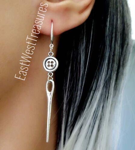 Silber Nadel Faden Nähen Ohrringe Schmuck Geschenk für Damen