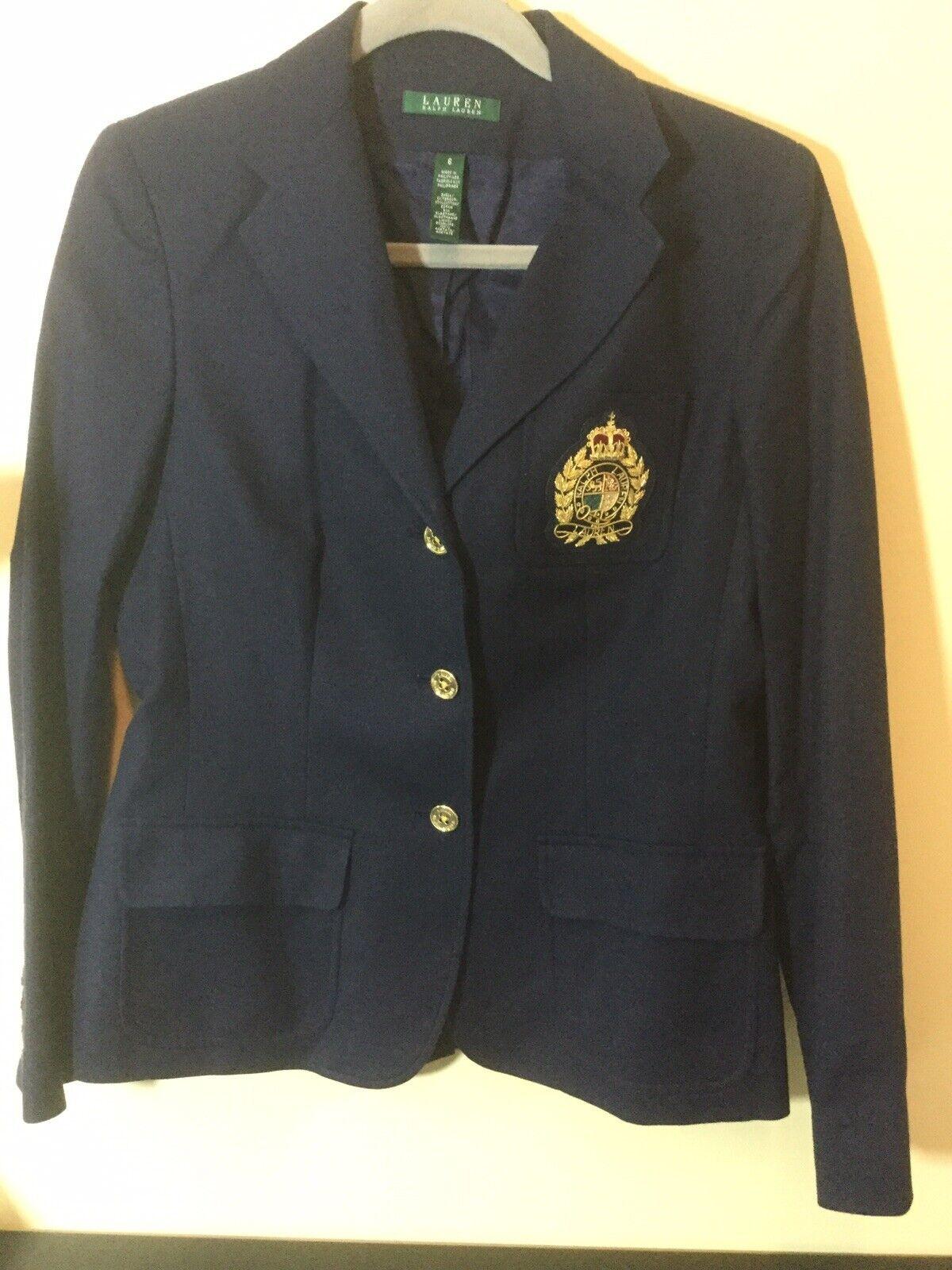 Ralph Lauren Women's Navy bluee  gold Raised Crest Crest Crest Wool Boyfriend Blazer Sz 6 0124e9
