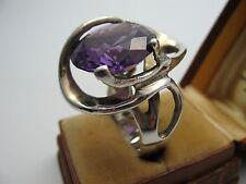 Großer massiver Designer Ring mit violettem Stein aus 925 Sterling Silber