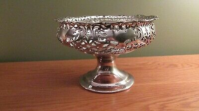 Victorian Silver Footed Dish with Handle Vintage F B Rogers Silver Co Compote Basket