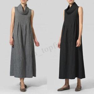 Details about Women Sleeveless Turtleneck Long Shirt Dress Summer A-Line  Tank Dress Plus Size