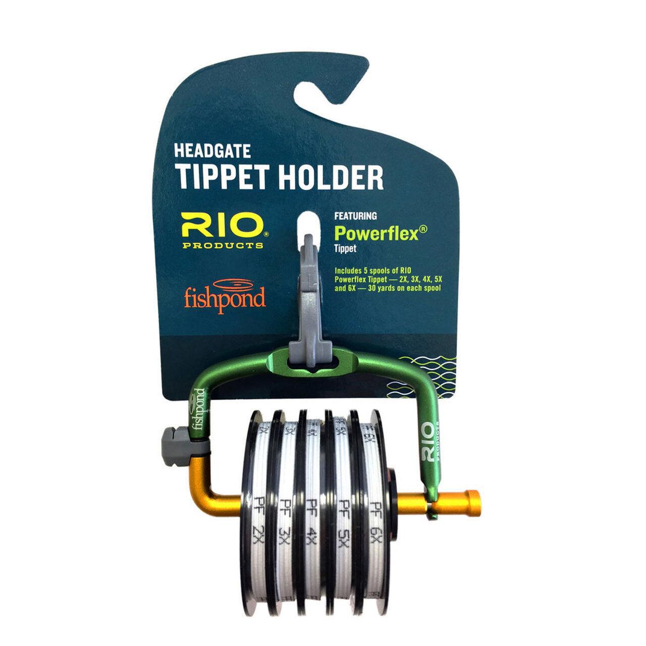 RIO FISHPOND HEADGATE TIPPET HOLDER LOADED W  5 30YD SPOOLS OF POWERFLEX TIPPET