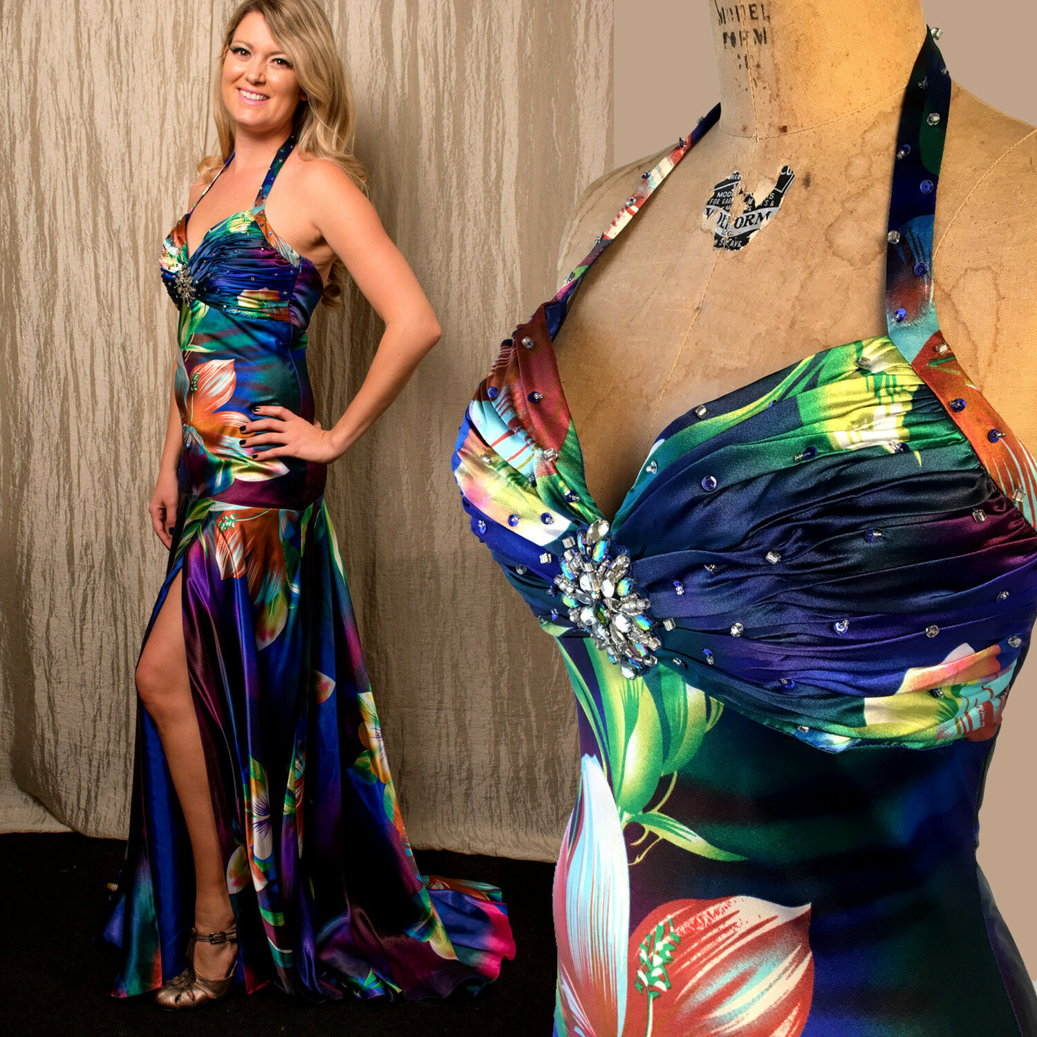 Cinderella 6 Satin Floral Strapless Aloha Gown Prom Pageant Beaded Halter