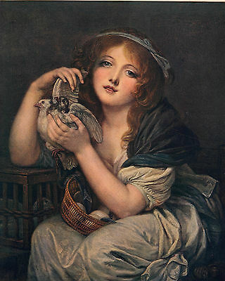 JEAN BAPTISTE GREUZE 1800s Painting A GIRL WITH DOVES 1914 Portrait Book Print