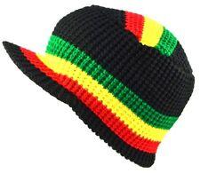 Rasta Visor Beanie Skull Cap Stripe Jamaica Reggae-black red yellow green