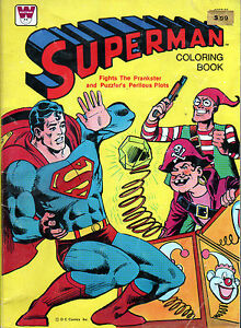 SUPERMAN Coloring Book w PRANKSTER & PUZZLER 1980 Used | eBay