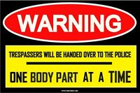 Funny Sign Prank (no Trespassing) Sticker Decal Body Part Adult