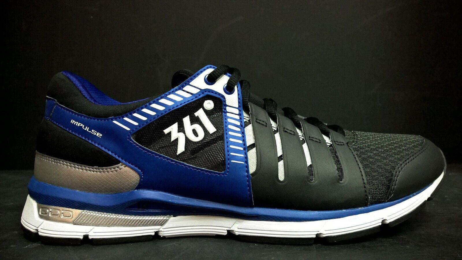 361 Men's Size 9.5 Impulse Running shoes, 101420104-1004, Black bluee