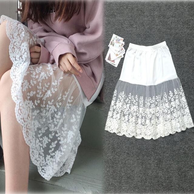 Women Lace Slip Dress Skirt Extender Knee Length A-Line Half Slip Extenders