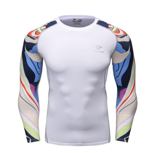 Mens Compression shirts Athletic Workout Sports Running Top À Manches Longues Imprimé