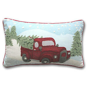 CHRISTMAS TREE IN RED TRUCK PILLOW @ 4FreeShipping BOW WREATH HOLIDAY DECOR eBay