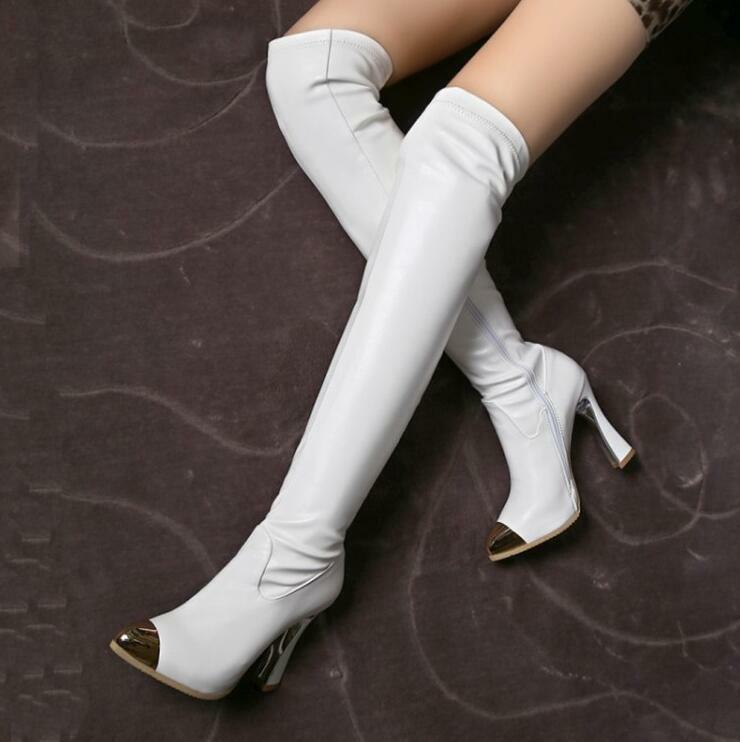 Sexy Women Pointy Toe Pull On Over The Knee Knght Boots High Heels Thigh shoes_复