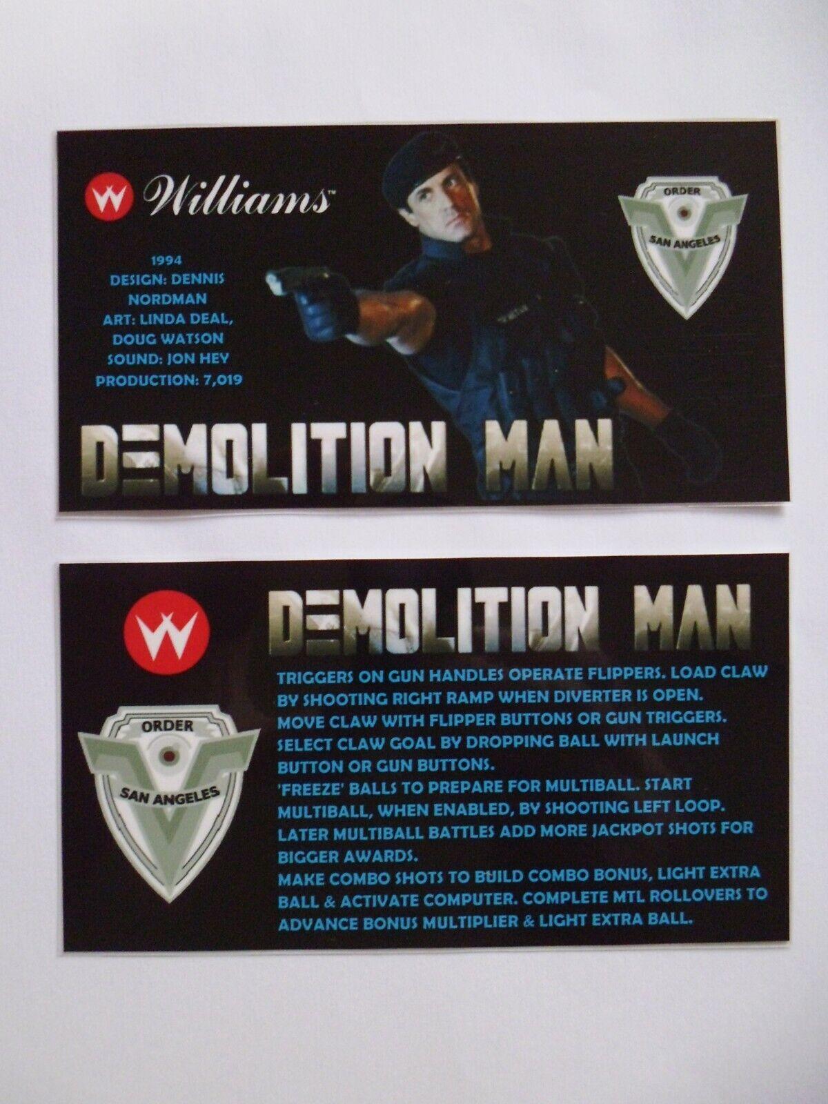 * * 'DEMOLITION MAN' Williams 1994 Custom Instruction/Apron Cards * * (New)